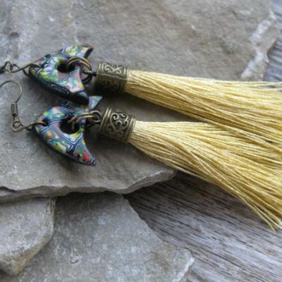Náušničky klimt so strapcami (zlato žlté. č. 2616)