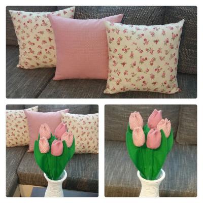 Set vankúše a tulipány