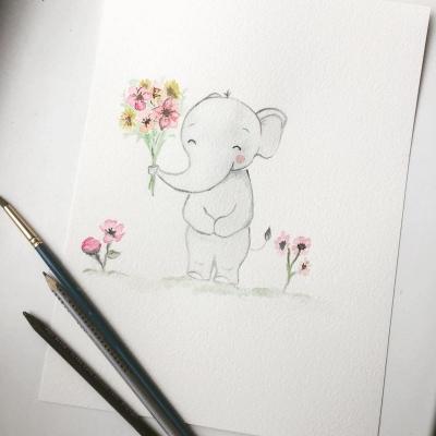Sloník s kvetinkami