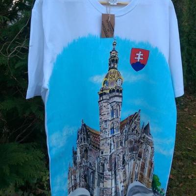 Ručne maľované pán.tričko -BIELA- DÓM SV. ALŽBETY