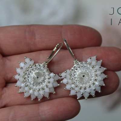 Svadobné náušnice 'White Alabaster' Ag 925 so Swarovski® kryštálmi