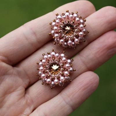 Napichovacie náušnice 'Ježkovia' bronzovo-ružové so Swarovski® kryštálmi