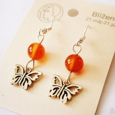 Handmade náušnice motýliky pre znamenie blíženci z karneolu