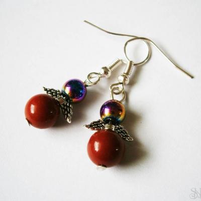 Handmade náušnice anjeliky z jaspisu červeného a hematitu