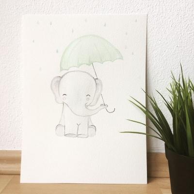 Sloník s dáždnikom