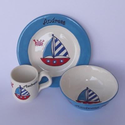 Hrnček, miska a tanier - loďka