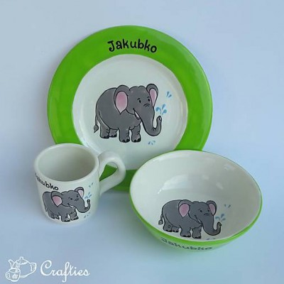 Hrnček, miska a tanier - sloník