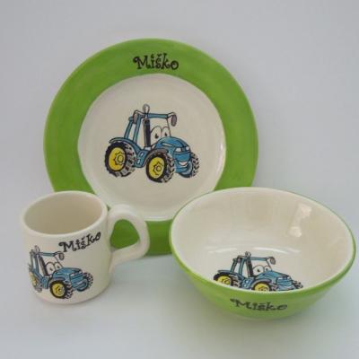 Hrnček, miska a tanier - traktor