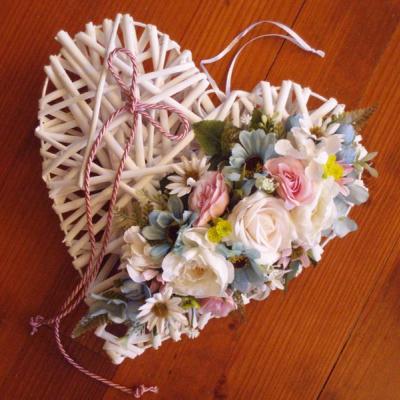 Srdce pink, tyrkys a ivory s mašľou 30cm