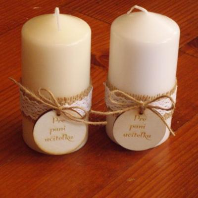 Vintage sviečky s jutou, krajkou a medailónom pre p. učiteľky