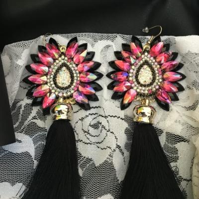 Strapcové náušnice - Ružovo čierna elegancia