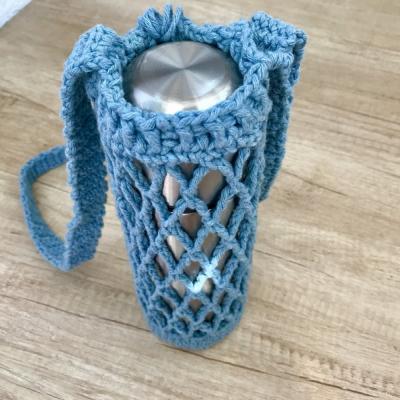 Taštička na fľašu z recyklovanej bavlny s retro prackou