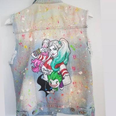 Rucne malovana vesta Harley Quinn