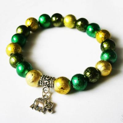 Zelený perlový náramok na gumičke so sloníkom