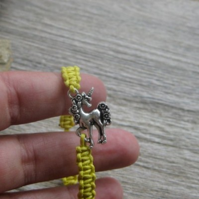 Pletený náramok detský (žltý jednorožec, č. 2720)