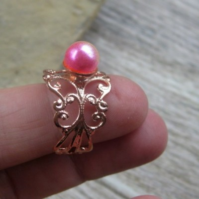 Filigránový prsteň s perlou (farba kovu ružová, dúhová perla, č. 2747)