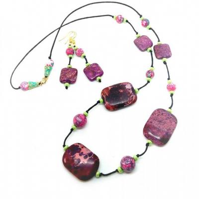 Fialový náhrdelník a náušničky z JASPISU