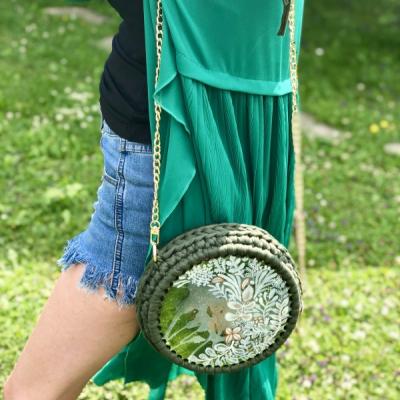 Hačkovaná, maľovaná šitá kabelka