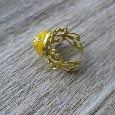 Filigránový prsteň (žltý horčicový č.967)