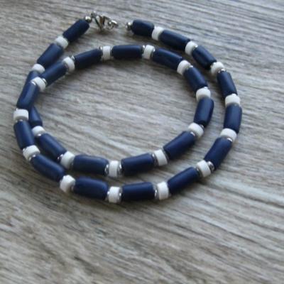 Pánsky náhrdelník okolo krku - chirurgická oceľ (modro biely námorník, č. 2803)