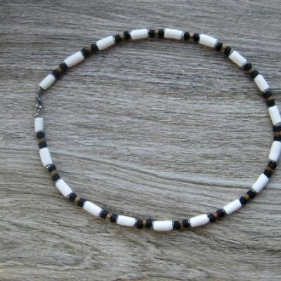Pánsky náhrdelník okolo krku - chirurgická oceľ (čierno biely, č. 2805)