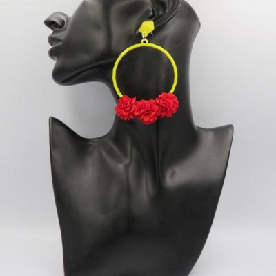 Letné žiariace náušničky žlto-červené