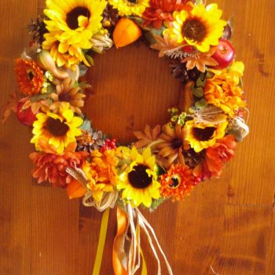 Jesenný veniec 38cm so stuhami