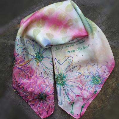Nežnosti kvetín-hodvábna ecoprint šatka