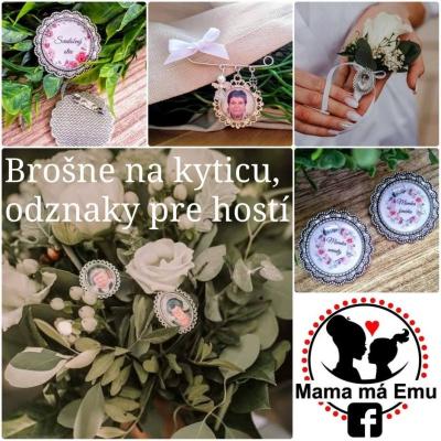 Brošňa sa svadobnú kyticu, pierko alebo odznaky pre hostí