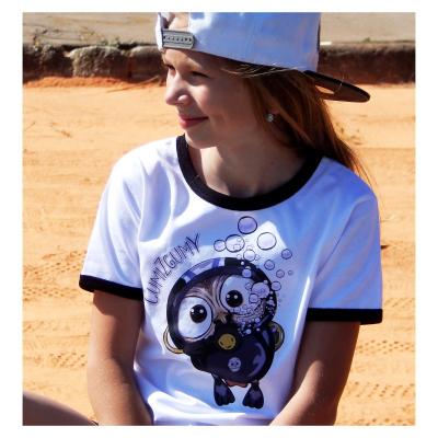 Detské tričko s čiernym lemom - OčiPuči ČumiZGumy