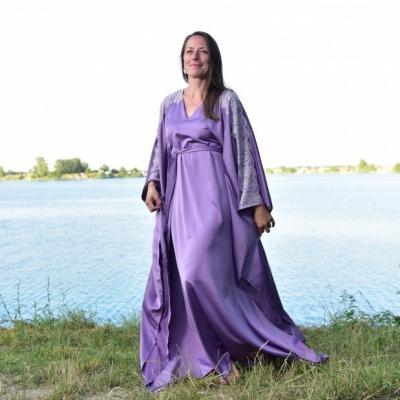 Zrelá Levanduľa - Kaftan so Chantilly čipkou, šaty, luxusné domáce oblečenie