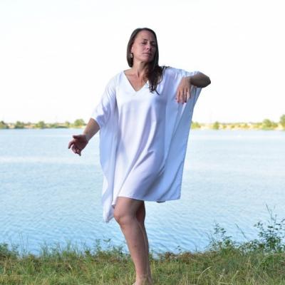 Kráľovná Leta - Krátky kaftan so Chantilly čipkou, šaty, domáce oblečenie, nočná košeľa