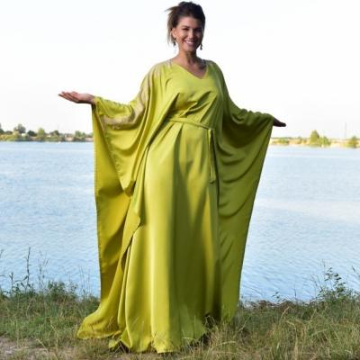 Limetkový Portál - Kaftan so Chantilly čipkou, šaty, domáce oblečenie