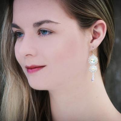 Svadobné náušnice Crystal AB so Swarovski® kryštálmi / Ag 925