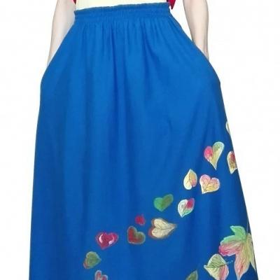 Dvojdielová dlhá sukňa maľovaná jar-jeseň