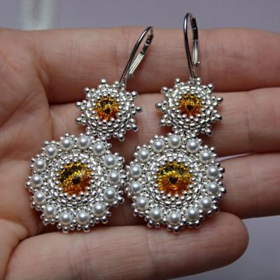 JOIA svadobné náušnice 'Pearls' so Swarovski® kryštálmi / Ag 925 / Sunflower