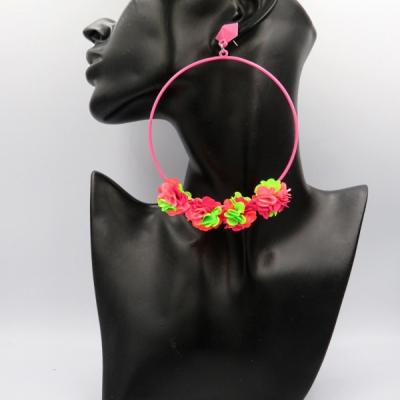 Letné žiariace náušničky ružovo-zelené