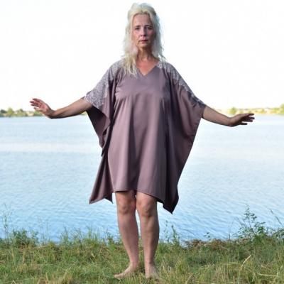 Spokojná vlna - Krátky kaftan so Chantilly čipkou, šaty, domáce oblečenie, nočná košeľa