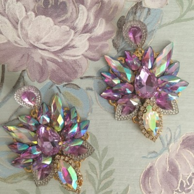 Náušnice - Purple ornament