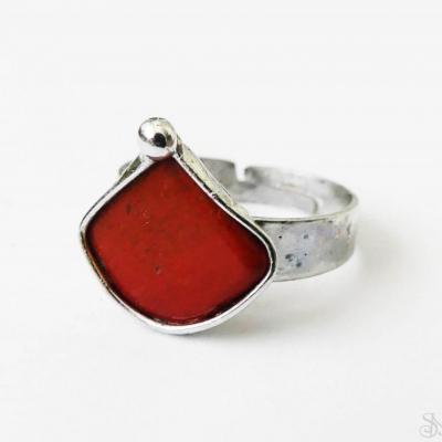 Cínovaný (tiffany) prsteň s liečivým minerálom jaspisom červeným