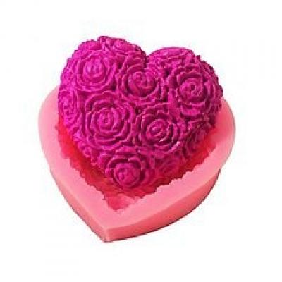 Silikónová forma srdce, ruže, kvety, 1 ks