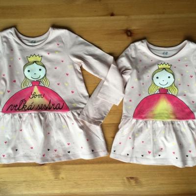 """Maľované šaty s princeznou a nápisom """"Mám 1 rok"""" alebo na želanie"""
