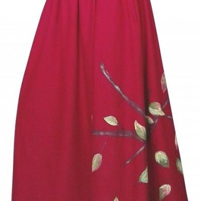 Dvojdielová dlhá sukňa maľovaná jesenná