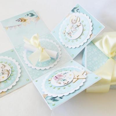 Exploding box - darčeková krabička k narodeniu dieťatka / k narodeninám