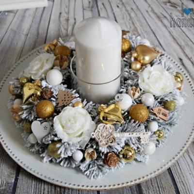 Elegantný svietnik na jednu sviečku zlato-biely 30cm