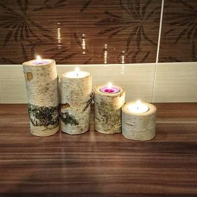 Drevený svietnik - sada brezových sviečok (adventný svietnik)