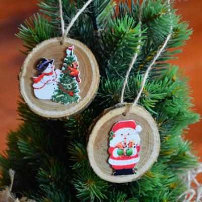 Vianočné drevené ozdoby - snehuliak, Mikuáš - sada 2ks
