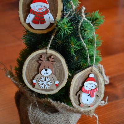 Vianočné drevené ozdoby - sada 3ks