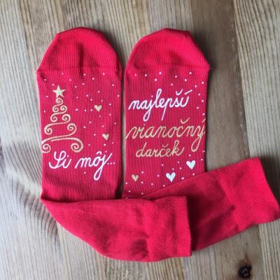 Maľované vianočné červené ponožky