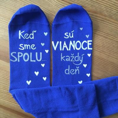 Maľované vianočné modré ponožky